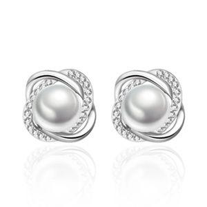 925 Silver Zircon Crystal Pearl Earrings